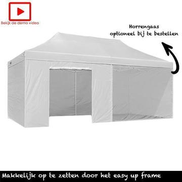 Easy up Partytent 3x6, vouwtent Wit, Incl. Zijwanden 3 x 6