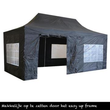 Easy up Partytent 3x6, Zwart, Incl. Zijwanden 3 x 6,vouwtent