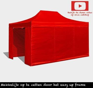 Easy up partytent 3x4.5,vouwtent rood Incl.zijwanden 3 x4.5