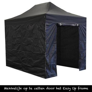 Easy up partytent,2x3, vouwtent zwart, Incl.zijwanden 3 x 2