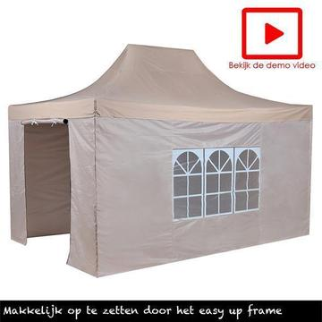 Easy up partytent 3x4.5,vouwtent taupe Incl.zijwanden 3 x4.5
