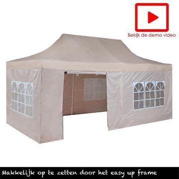 Easy up Partytent 3x6, vouwtent taupe, Incl. Zijwanden 3 x 6