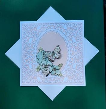3d kaart, vlinder, roze