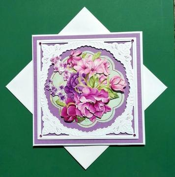 3d kaart, bloemen, paars