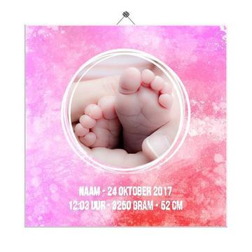 Geboortetegeltje met foto (roze-rood)