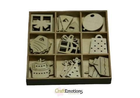 CraftEmotions houten ornamenten party 30 stuks box 10,5 x 10