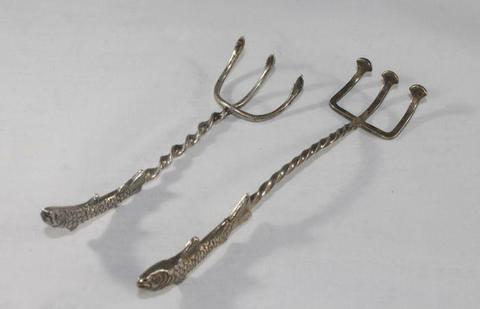 2 Vis vorken met forel - Zilver