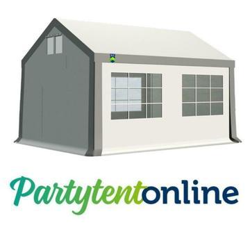 Partytent 4x4 m PVC Wit-Grijs