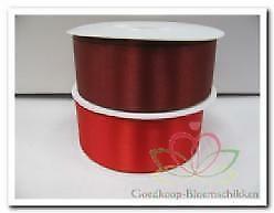 Lint Dubbel Satijn 40 mm rood of wijnrood /meter